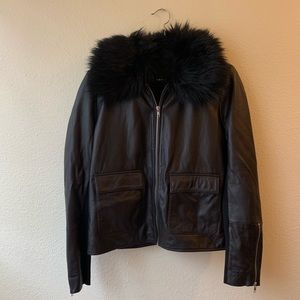 Leather Jacket with Removable Faux Fur Collar